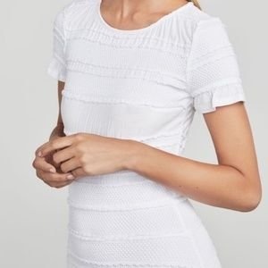BCBG White Libby Striped Jacquard Mini Dress